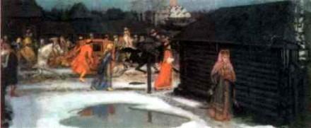 А. Рябушкин. Свадебный поезд в Москве (XVII столетие). Фрагмент. 1901 г.