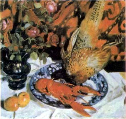 Б. Кустодиев. Натюрморт с фазанами. 1914 г.