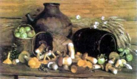 Н. Соломин. Натюрморт с грибами. 2000 г.