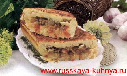 Рулет картофельный с овощами